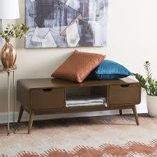 Living Room Bench by Belham Living Darby Mid Century Modern Upholstered Bench Hayneedle