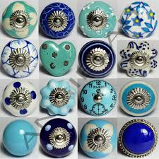Kitchen Cabinet Drawer Pulls And Knobs by Blue Ceramic Door Knobs Mix U0026 Match Vintage Shabby Chic Handles