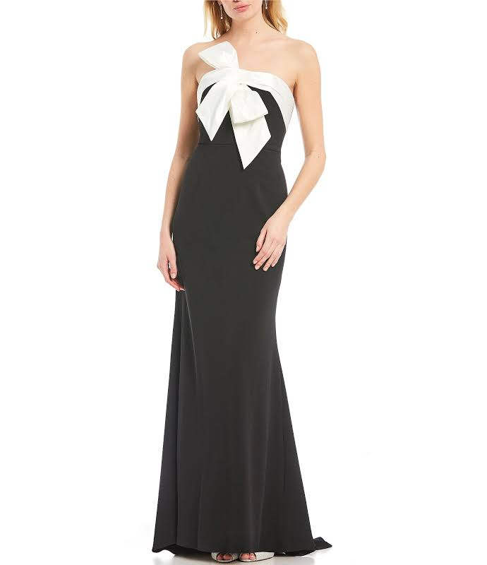 Adrianna Papell Bow-Detail Colorblock Evening Dress Black-Ivory 10
