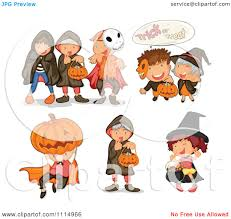 clipart kids in halloween trick or treat costumes royalty free