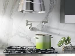 Kitchen Marble Backsplash Kitchen With Marble Backsplash And Pot Filler Faucet Useful Pot
