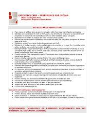mcdonalds job description resume executive chef job description