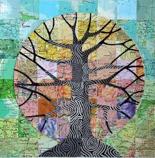 images about Art Therapy Ideas on Pinterest   Heart print     Pinterest Map Tree Mixed media collage with vintage atlas papers  inches  I pinned it originally to Maps  but now I am thinking of some sort of art therapy idea