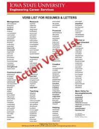 list of adjectives for resume keywords and action verbs u2022 engineering career services u2022 iowa