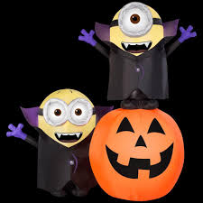 illuminated halloween decorations gemmy 6 5 ft inflatable lighted gone batty minion pumpkin scene
