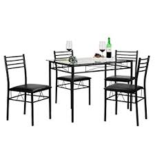Amazoncom VECELO Dining Table With  Chairs Black Kitchen  Dining - Black dining table for 4