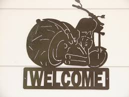 motorcycle harley davidson welcome sign home decor wall