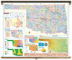 Thematic Maps Oklahoma State Thematic Classroom Map On Spring Roller From Kappa