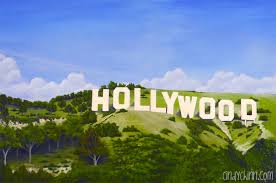 gunfighter mural for movie theatre hollywood sign mural