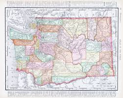 State Map United States by Vintage Map Of Washington State United States 1900 Stock Photo