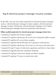 sample resume for program manager top8electricalprojectmanagerresumesamples 150515013459 lva1 app6892 thumbnail 4 jpg cb 1431653745