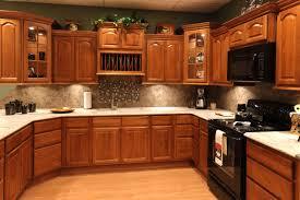 Dark Kitchen Cabinets With Backsplash Oak Kitchen Cabinets With Granite Countertops And Black Appliances