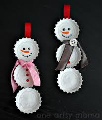 bottle cap snowman ornaments one artsy mama
