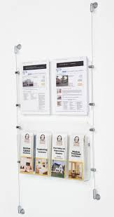 wall mounted cable management system 2 8 5 x 11 sign holder with adjustable literature pockets wall