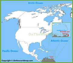 Caribbean Sea On Map by Trinidad And Tobago Location On The North America Map