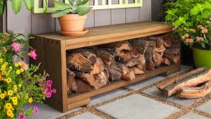 build a bench with firewood storage