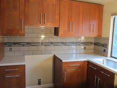 White Subway Tile Backsplash Ideas by White Subway Tile With Glass Accent Backsplash Our House
