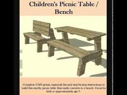 Wooden Folding Picnic Table Plans by Kids Picnic Table And Bench Youtube