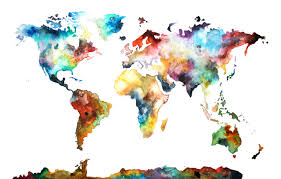 cool watercolor paintings world map
