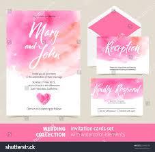 Invite Cards Vector Set Invitation Cards Watercolor Elements Stock Vector