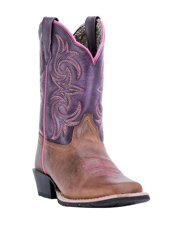 Dan Post Majesty Childrens 8 Brown/Purp Sanded Western Cowboy Boot 13 D Brown-Purple