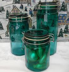 vintage italglass green glass 3 piece canister set with metal