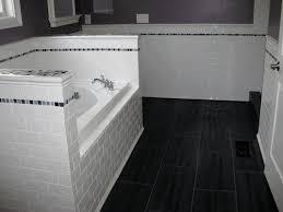 white bathroom tile rectangular frameless mirror brown wooden wall