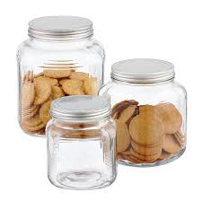 Clear Canisters Kitchen Glass Jars With Lids Anchor Hocking Glass Cracker Jars With