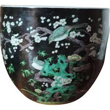 large antique 19th century chinese famille noir porcelain fish