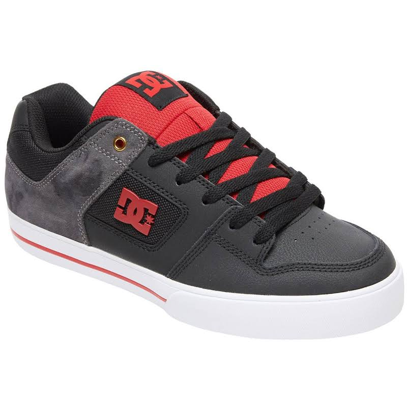 DC Pure SE Black Leather & Suede Athletic Lace Up Skate Shoes