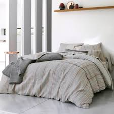 chemin de lit en lin parure de couette blanc des vosges coton et lin lavé népal coloris