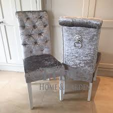 Knitted Cushions With Buttons Crushed Velvet Dining Chair With Crystal Buttons And Lion Pull