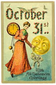 vintage halloween graphic woman with moon man graphics fairy