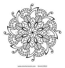Indian Flower Design Black Pattern Vector Flower Mandala Design Stock Vector 644413813