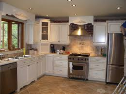 kitchen diy kitchen remodel brown cabinets and cream wall for diy kitchen remodel with white cabinet and tile backsplash for kitchen decoration ideas