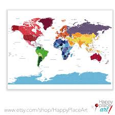 World Map Canvas by Detailed World Map With City Labels World Map By Happyplaceart
