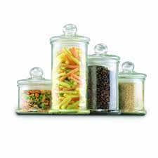 kitchen four piece canister set in tan for kitchen accessories ideas anchor hocking 4 piece round glass canister sets for kitchen accessories ideas
