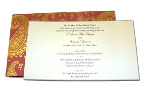 English Invitation Card Hw018 Indian Design Red Wedding Card Letterpressed Gold Paisley