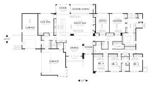modern house plan with 4 bedrooms and 3 5 baths plan 4364