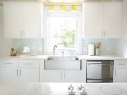 Glass Kitchen Tile Backsplash Ideas Kitchen White Glass Tile Backsplash Countertop With Dark Wood