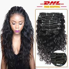Human Hair Glue In Extensions by Full Peruvian Water Wave Clip In Human Hair Clip In Extensions