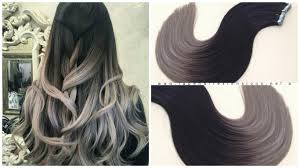 Grey Human Hair Extensions by Black To Grey Long Root Fade Ombre Balayage Hair Extensions Www