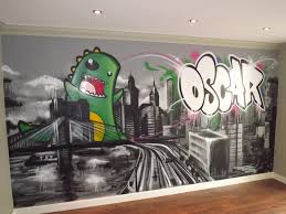 children teen kids bedroom graffiti mural hand painted children teen kids bedroom graffiti mural hand painted graffiti skyline and dino feature wall design design