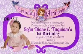 1st birthday princess invitation invitation wordings sofia the first invitation wording