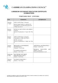 timetable csec may jun 2014