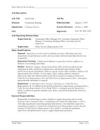 Resume Job Duties Examples Bank Teller Job Description For Resume Resume For Your Job