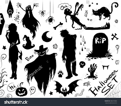 witch silhouette png happy halloween set vector collection silhouettes stock vector