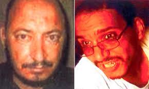 أيوب المصري إلى اليمين- أبو عمر البغدادي إلى اليسار - أبو حمزة المهاجر