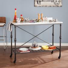 Marble Top Kitchen Island Cart by Black Serving Cart With Faux Marble Top Hd888965 The Home Depot