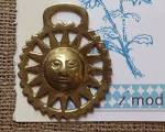 Vintage Horse Brass Buckle Sun With Face Horse Carriage by imodern